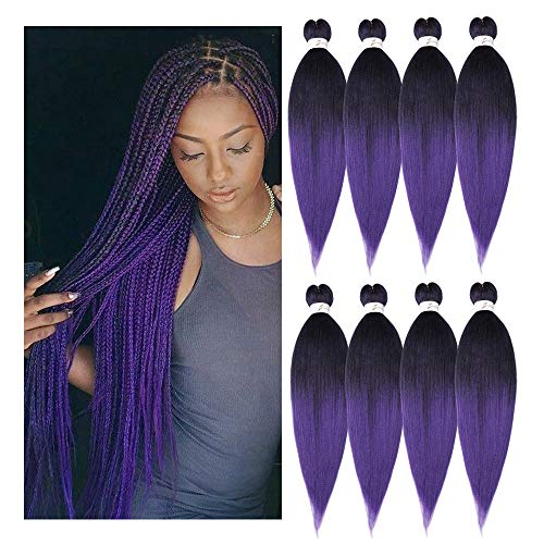 24 Inch 8 Packs/Lot Pre-stretched Braiding Hair Yaki Texture Kanekalon Braids Hair Synthetic Hair for Crochet Braids Itch Free Ombre Black to Purple (1B/Purple)