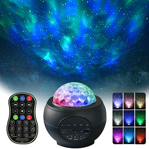 Night Light Projector, Dreamlike Galaxy Light Projector for Bedroom, 3 in 1 Music Starry Projector with Bluetooth Music Speaker for Adults, Kids, Bedroom, Game Rooms, Party