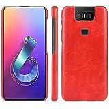 HualuBro Handyhülle für Asus Zenfone 6 ZS630KL Hülle, Retro PU Leder Hardcase [Ultra Dünn] Lederhülle Tasche Schutzhülle Hülle Cover für Asus Zenfone 6 ZS630KL 2019 (Rot)