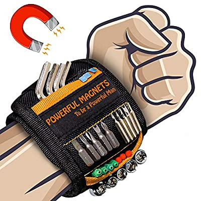 Magnetic Wristband Best DIY Dad Gifts- Gifts Tool for Men Magnetic Tool Wristband with 10 Powerful Magnets, Father Carpenter Men Gadgets Gifts Magnetic Wristband for Holding Nails Screws Drill from HANPURE