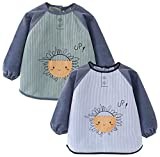 Happy Cherry Baberos de bebé con mangas impermeable delantal botones cierre para bebés niños pequeños con bolsillo, Azul + Verde Sol, 4-5 años