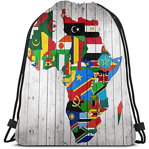 MOTALIN Bündel Rucksack,Turnbeutel,Afrika Kontinent Flagge Karte Auf Holz Sport Sporttasche Für Frauen Herren String Pull Bag Sport Sporttasche Für Reisen,Outdoor,Fitnessstudio
