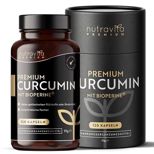 Premium-Curcumin 95 mit Bioperine® - 120 Kapseln - Höchste Qualität - Kurkuma Kapseln mit 5mg Bioperine® (Schwarzer Pfeffer Extrakt) - Hohe Absorption - Curcuma Kapseln - Kurkuma