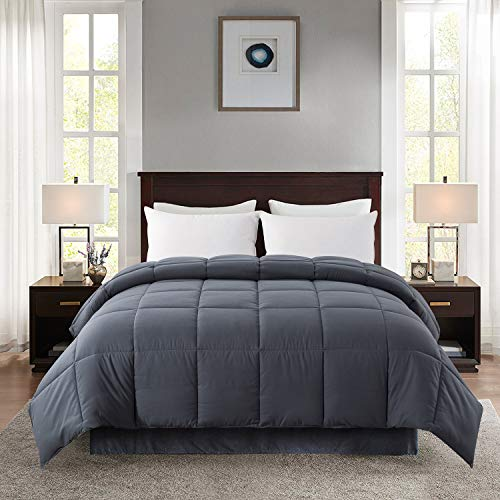 Jola's House 88''x 88'' Grey Bedding Down Alternative Soft Quilted Queen Comforter-Duvet Insert Stand Alone Comforter-All Season