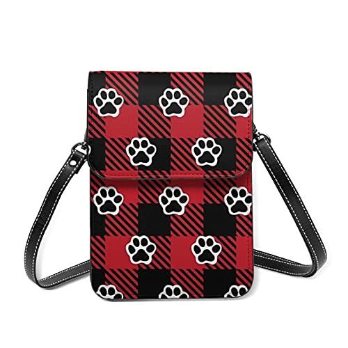 best& Dog Paws Buffalo Plaid Crossbody Bag Phone Bags Purse Sports pulsera Outdoor Sweat-proof Small Compact Handbags Crossbody Wallet Phone Holder Bag Shoulder Bag For Women Girls Lady