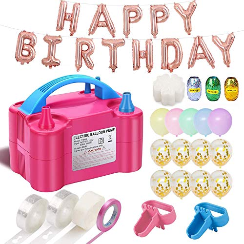 Balloon Pump, 160pcs Party Balloons 12 Inches Kit (100 Pack), Portable Dual Nozzle 110V 600W With Tying Tools, Colored Ribbon for Party Birthday Wedding Festival Balloon Arch Supplies,Decoration Acces