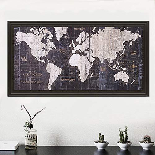 Nordic wereldkaart canvas Nordic muur canvas canvas schilderij zwart-wit print poster decoratie foto woonkamer studie 60x120cm Geen frame