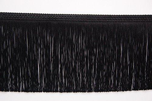 Gefranstes Zierband, 20 cm breit und 1Meter lang, erhältlich in gold, silber, schwarz, weiß Schwarz