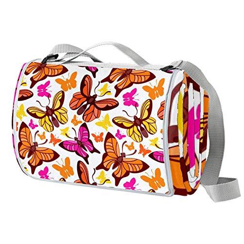 Vito546rton Wasserdichte tragbare Picknickdecke mit Schmetterlings-Design, mit Gurt, für Camping, Wandern, Gras, Reisen, 140 x 150 cm