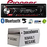 Autoradio Radio Pioneer DEH-S3000BT - Bluetooth | CD | MP3 | USB | Android Einbauzubehör - Einbauset für Renault Megane & Scenic 2 - JUST SOUND best choice for caraudio