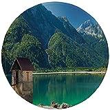 Alfombrilla de ratón Redonda de Goma Antideslizante Italia Lago Alpino Predil Norte de Italia Frontera eslovena Alpes Julianos Paisaje idílico Decorativo Mar Verde Azul Marfil 7.9'x7.9'x3MM