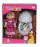 Simba - 109301003 - Masha et Michka - Poupée et Œuf Bébé Pingouin - 12cm