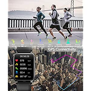 """Kalakate Smart Watch for Men Women, Fitness Tracker with IP68 Waterproof for Android iOS Phone, Smartwatch with 1.54"""" Touch Screen, Pedometer, Heart Rate, Sleep Monitoring, Weather Forecast (Black)"""