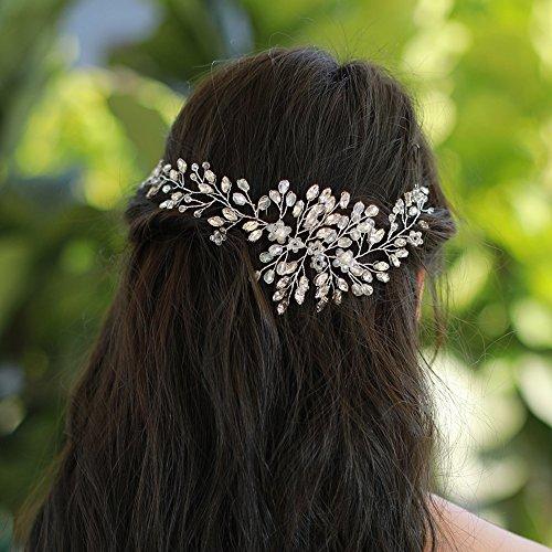 Amosfun Perles de Fleurs coiffes nuptiales Cheveux vignes Couvre-Chef Mariage vignes dargent Accessoire pour Cheveux