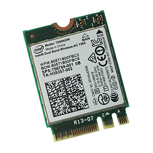 Intel Wireless-AC 7265 7265NGW 7265AC 867Mbps 2X2 NGFF Pcie Bluetooth WLANカード