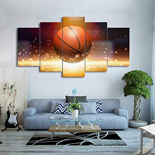 ganlanshu Pintura sin Marco Arte de Pared Pintura sobre Lienzo Popular 5 Paneles Llama Baloncesto Imagen Sala decoración ZGQ5483 40x60cmx2, 40x80cmx2, 40x100cmx1