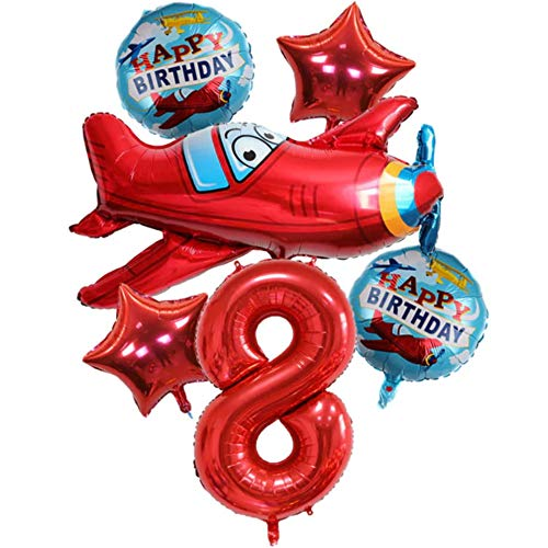 DIWULI, großes Flugzeug Luftballon Set, XXL Flugzeug-Ballon, XXL Zahl 8 Zahlen-Ballon rot, Stern-Ballon, Happy Birthday Folien-Ballons, 8. Kinder-Geburtstag Junge, Motto-Party, Dekoration, Flieger