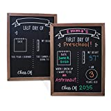Olive & Emma First and Last Day of School Sign | Reusable First Day of School Board | School Chalkboard Sign | 12' x 16' Reversible Wood Framed First Day of School Sign Double Sided