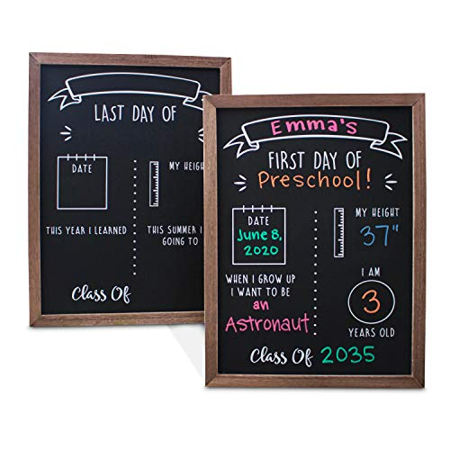 Olive & Emma First and Last Day of School Reusable Chalkboard Sign | 12' x 16' Reversible Wood Framed Chalkboard | Back to School Photo Prop Board Double Sided