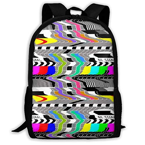 Schultaschen Schule Television Test Cards Patterns Rainbow Backpack Travel Bag College School Daypack for Women Girls Student Camping Bookbag