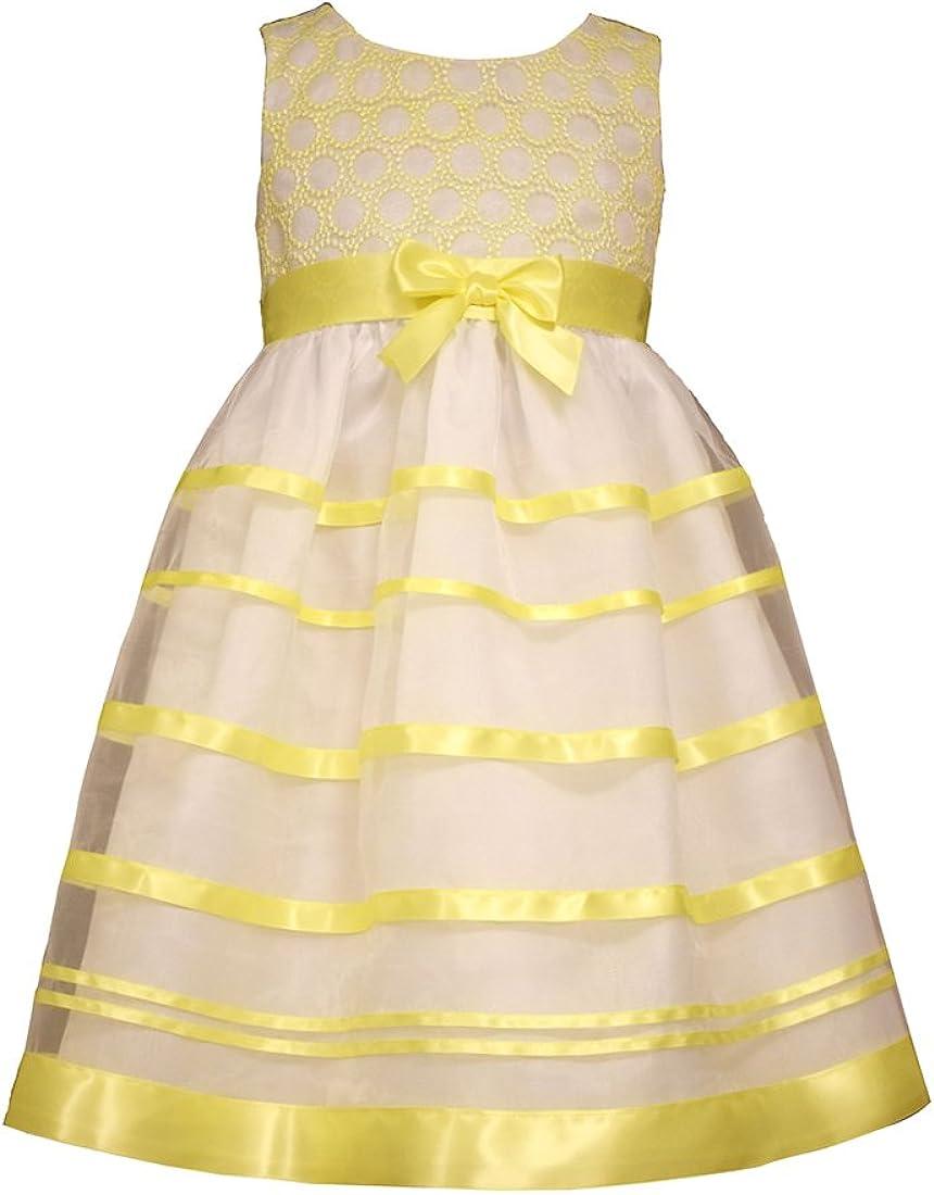 Bonnie Jean Little Girls Embroidered Circle Organza Satin Bow Dress, Yellow,