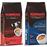 Kit de Granos de Café Enteros Kimbo - (2 bolsas x 1kg) - Espresso Napoletano, Aroma Intenso