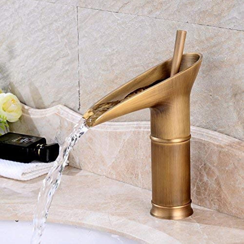 CFHJN Home Waschtischarmaturen Europischen Retro-Stil Kupfer Warmes und kaltes Becken Einlochmontage