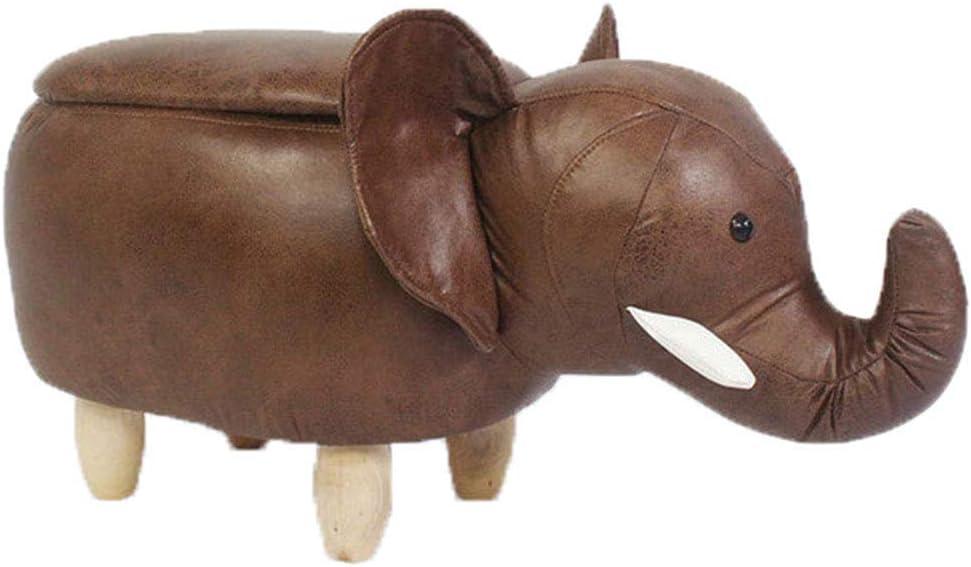 DSWDAA Cartoon Detroit Mall Elephant Footstool Portland Mall Storage Kids Leather Imitation