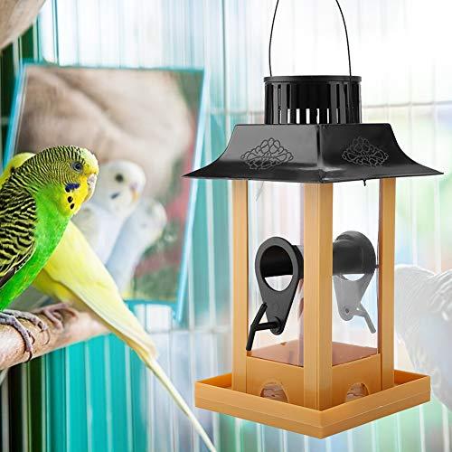 Alimentador de aves amarillo, con alimentador de pájaros PVC 12 * 12 * 23 cm Poste de alimentación de pájaros