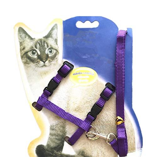 GDRAVEN Katzenleine Halfter Auffanggurt Kätzchen Nylonriemen Sicherheitsseil Verstellbar Kleines Katzenhalsband von TheBigThumb, Lila
