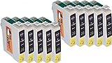10 Cartuchos de Tinta XL Negro compatibles con Epson T0711