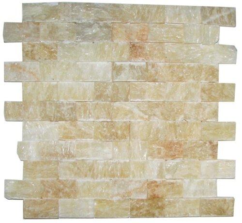 Honey Onyx Split Face 1x2 Mosaic Tile for Kitchen Backsplash, Wall tile