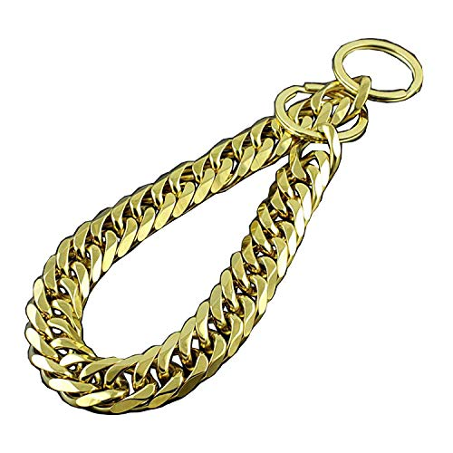 Large Pet Dog Choke Chain Huge Heavy Gold Stainless Steel P Choker Collar Necklace 18mm (Length: 20' recommend dog's Neck:16')