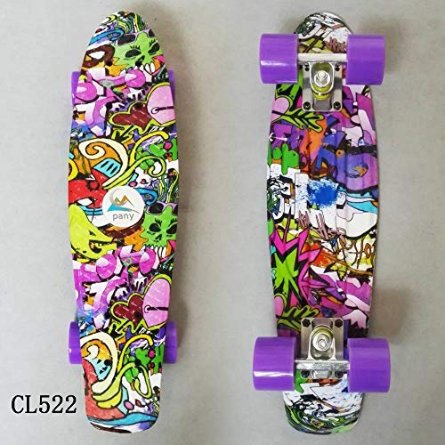 zzzddd Cruiser,Purple World Cruiser Vierrädriges Kleines Fisch-Skateboard Road Single Tilt Skateboard, Leichtes Classic Child Adult Outdoor-Sport Brush The Street Skateboard