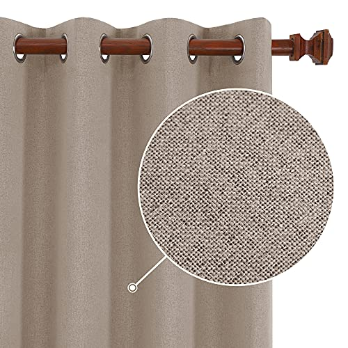 Deconovo Total Blackout Curtains, Sun Blocking Curtain Noise Reducing Window Drapes with Grommets for Bedroom (Khaki, 52x63 Inch, 2 Panels)