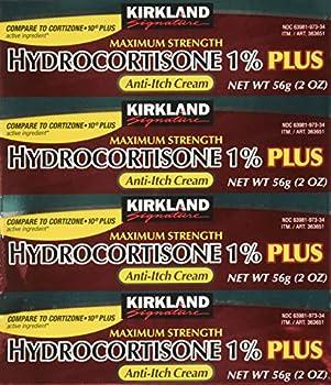 Kirkland Signature Maximum Strength Hydrocortisone Cream 1% with Aloe 2-ounce  pack of 4