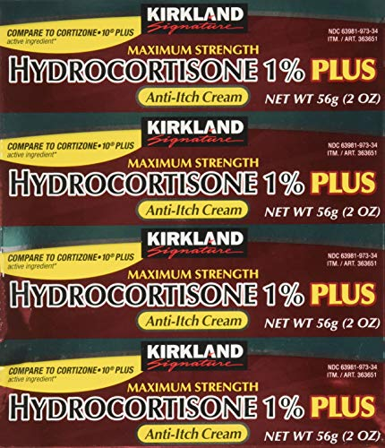 Kirkland Signature Maximum Strength Hydrocortisone Cream 1% with Aloe, 2-ounce (pack of 4)