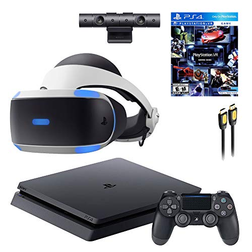 Playstation 4 Console VR Set - Playstation 4 Slim Console, PSVR Headset, Camera, Wireless Controller and SPSE HDMI 4K Cable