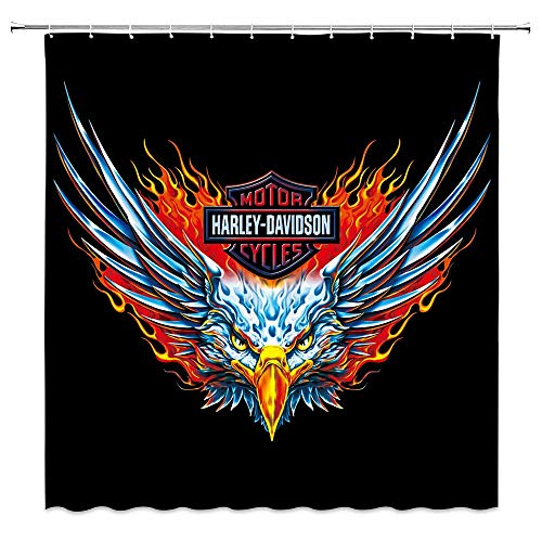 Harley Davidson Shower Curtain Red Blue Abstract Eagle Motor Club Decor Black Fabric Bathroom Curtains Waterproof Polyester with Hooks