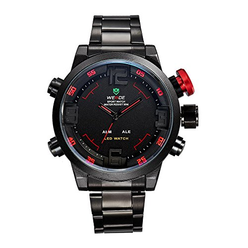 Men's Dual Display Multifunction LED Watch Sport Waterproof Alarm Clock Luminous Steel Belt Watch (Red)