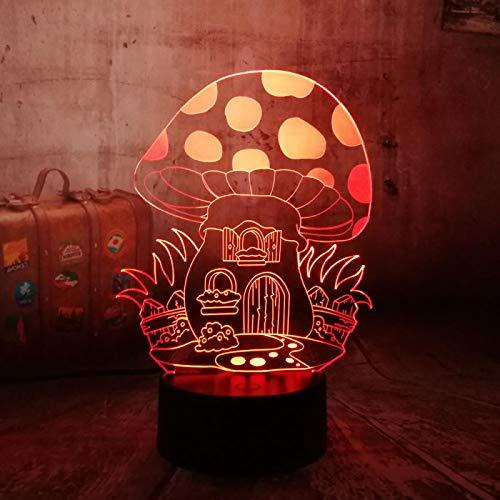 3D Ilusión Óptica Lámpara Led Luz De Noche Linda Casa De Setas Luz Nocturna 3D Visual Lámpara De Mesa Regalo De Cumpleaños Para Niños Para Casa Dormitorio Decoración 16 Colores Cambio