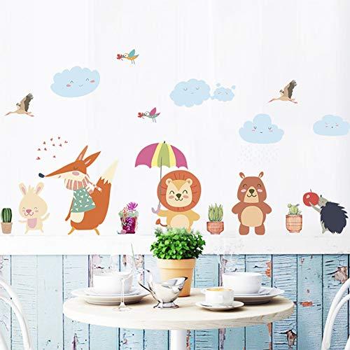 Taoyue Grappige beer uil vogel leeuw paraplu plant muursticker kinderkamer wooncultuur cartoon dieren muurkunst pvc muursticker