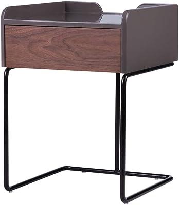 XIAOMEI 脚室とリビングルームに面している実用的な収納用引き出しコーヒーテーブルサイドテーブル(クルミ)-59 * 43 * 43CM 多機能