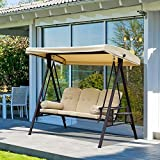 3-Sitzer Hollywoodschaukel Gartenschaukel mit Sonnendach Kissen Metall - 4