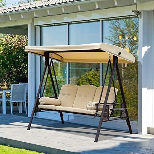 Outsunny 3-Sitzer Hollywoodschaukel Gartenschaukel mit Sonnendach + Kissen Metall + Polyester Beige + Braun 124,5 x 206 x 180 cm - 2