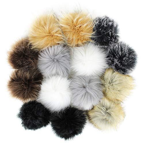 WONGYEE 14pcs Faux Fur Fluffy Pompoms Ball for Hat Shoes Scarves Bag Charms DIY Accessories, 4 Inch (7 Popular Mix Colors)