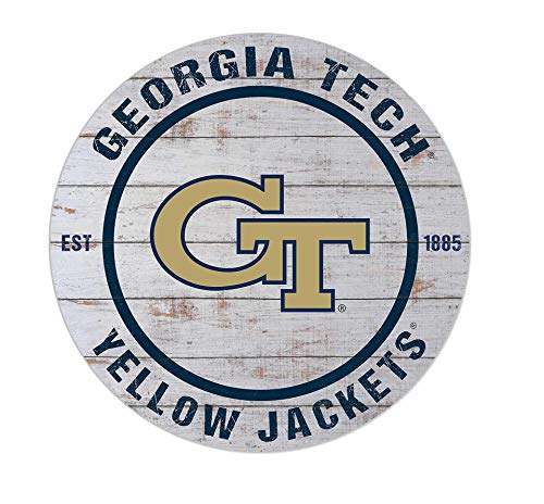 "KH Sports Fan Georgia Tech Yellow Jackets 20""x20"" inOutdoor Classic Weathered Circle Sign, Team Color"