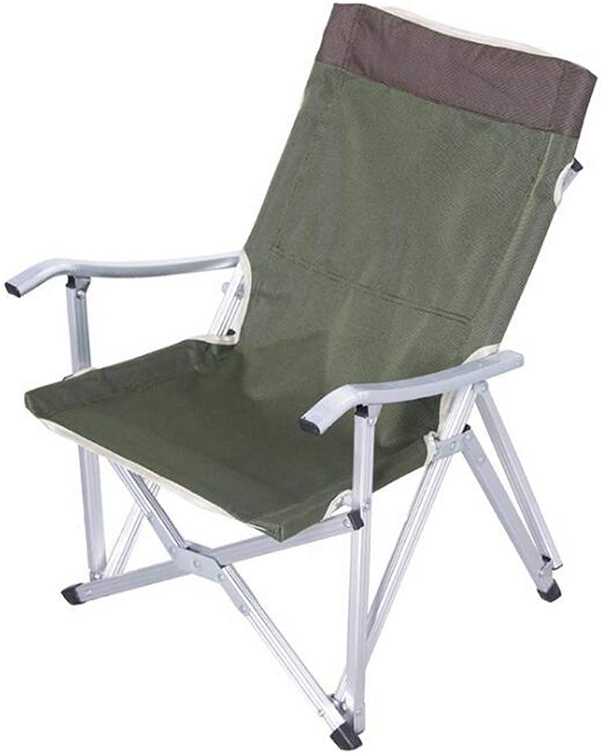 RFJJAL Extended Folding Camping Chair, Portable Lightweight Collapsible Moon Chair Stool with Carrying Bag for Hiking Walking Fishing Travel Beach Outdoors (color   Green)