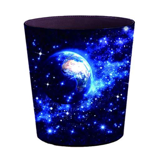 Papierkorb Kinderzimmer, Haunen Papierkörbe Leder Wasserdicht Abfalleimer Mülleimer ohne Deckel für Kinderzimmer, Büro, Küche, Schlafzimmer, Weltraum - Planeten, 10 Liter