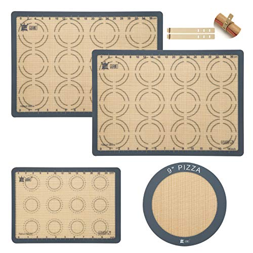 4-Piece Silicone Baking Mat Set,GUANCI 2Pcs 16-1/2'x11-5/8'Rolling Macaron Baking Mat&1Pcs 11-3/4x8-1/4'Reusable Baking Mat&1Pcs 9'Round Pizza Baking Mat for Rolling Macaroon/Pizza/Cookie Making